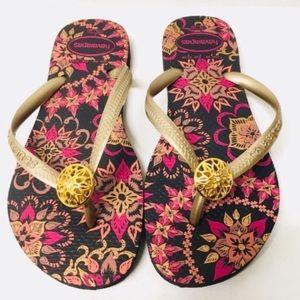 3/$50 NEW Havaianas gold mandala flip flops 5 6